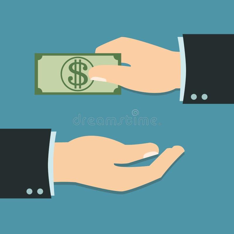 Mano dell'uomo d'affari con il concetto di paga illustrazione vettoriale