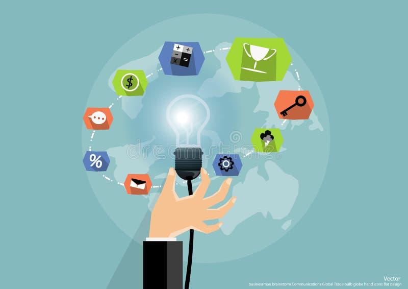 Mano dell'uomo d'affari con il concetto e l'idea di lavoro con la comunità di traders che consiste di una lampada, la progettazio illustrazione di stock