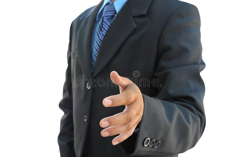 Mano dell'uomo d'affari da agitare fotografie stock