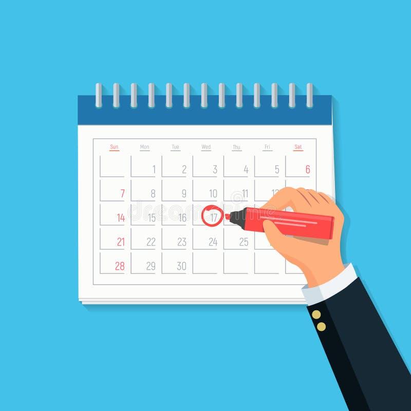 Mano dell'uomo d'affari del primo piano con il calendario e l'indicatore rosso Segno di concetto sul calendario illustrazione di stock