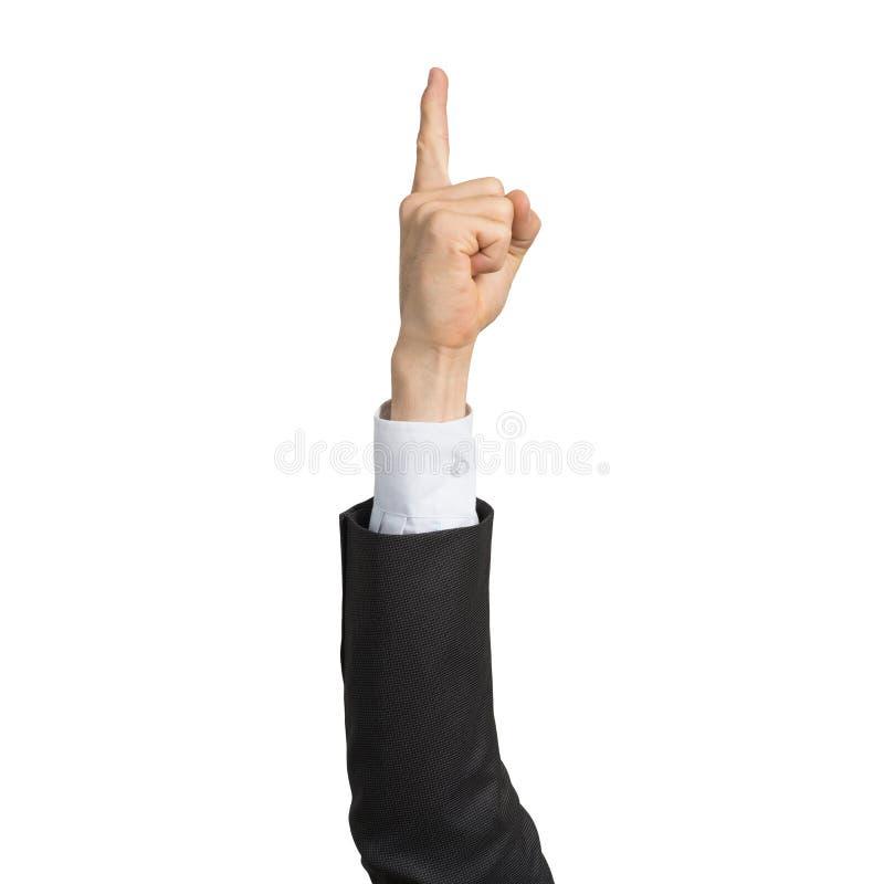 Mano dell'uomo d'affari nell'indicare del dito di rappresentazione del vestito fotografie stock libere da diritti