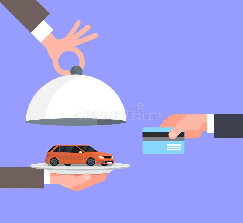 Mano dell'uomo del venditore che dà Vechicle sulla carta di Tray To Owner With Credit, sulla vendita dell'acquisto dell'automobil royalty illustrazione gratis