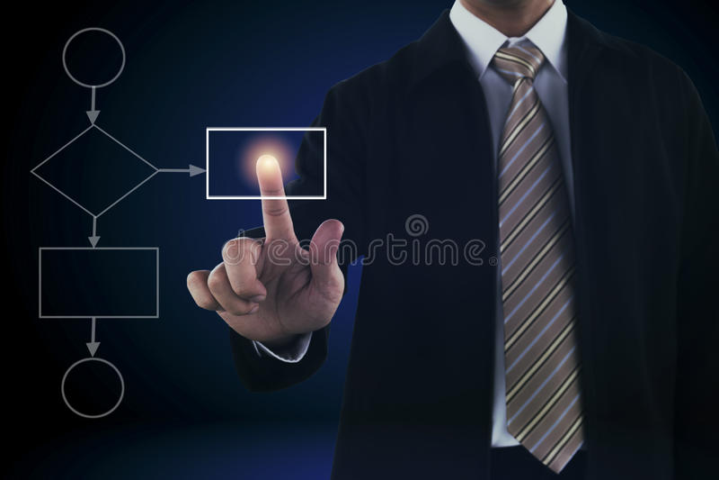Mano dell'uomo di affari che tocca sullo schermo virtuale fotografia stock libera da diritti