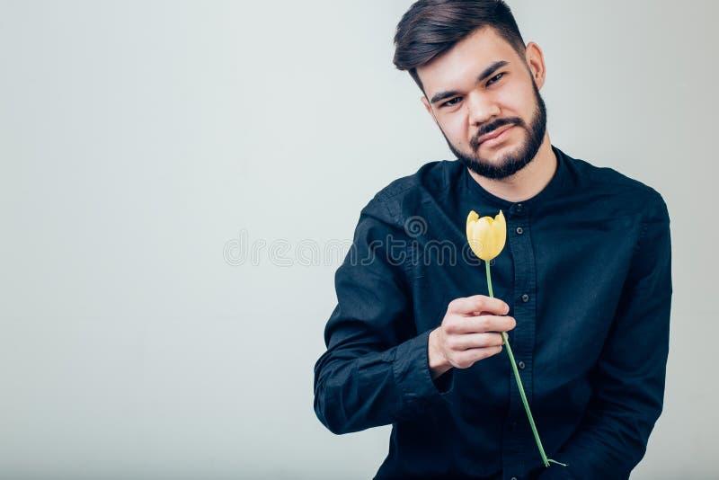 Mano dell'uomo di affari con il fiore della rosa rossa su fondo bianco fotografia stock