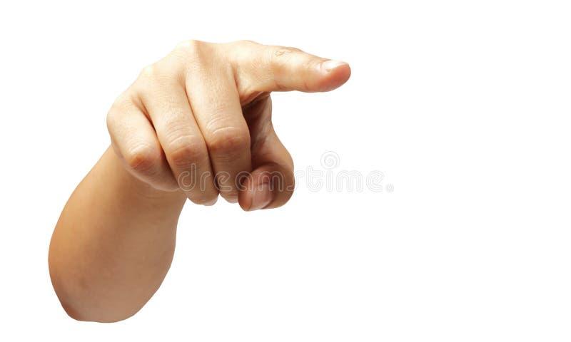Mano della donna che indica dito isolato con il percorso di ritaglio immagine stock libera da diritti