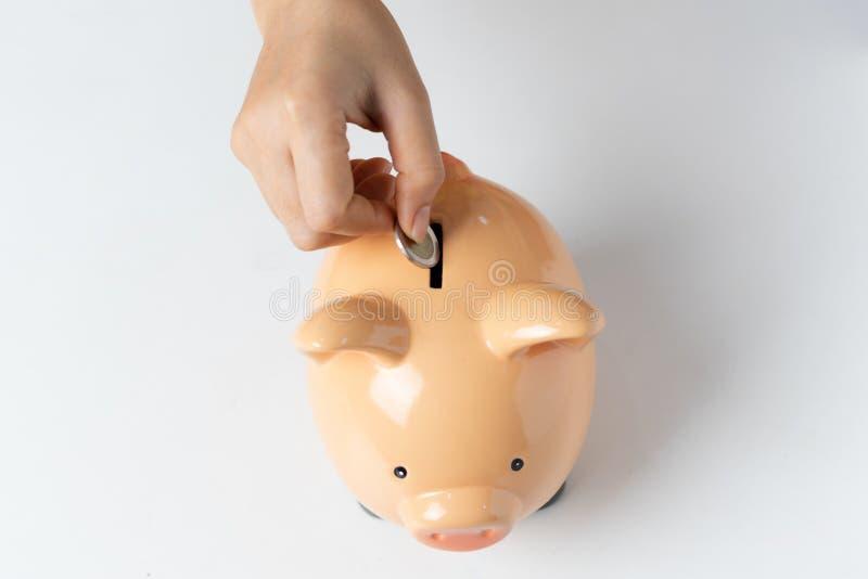 Mano della donna che mette la moneta nel porcellino salvadanaio immagini stock libere da diritti