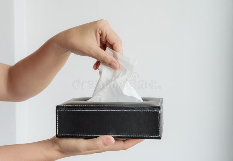 Mano della donna che seleziona la carta velina bianca dalla scatola del tessuto fotografie stock