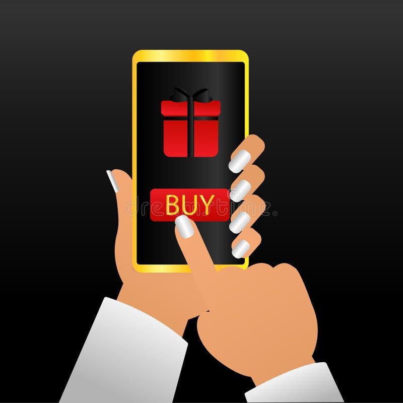 Mano della donna che tiene Smartphone nel Natale Aggeggio attuale del nuovo anno Signora Buying Xmas Gifts online, cliente modern royalty illustrazione gratis