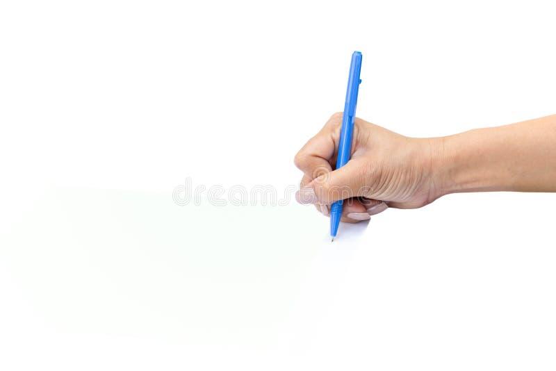 Mano della donna di affari con la forma di firma di accordo della penna fotografie stock