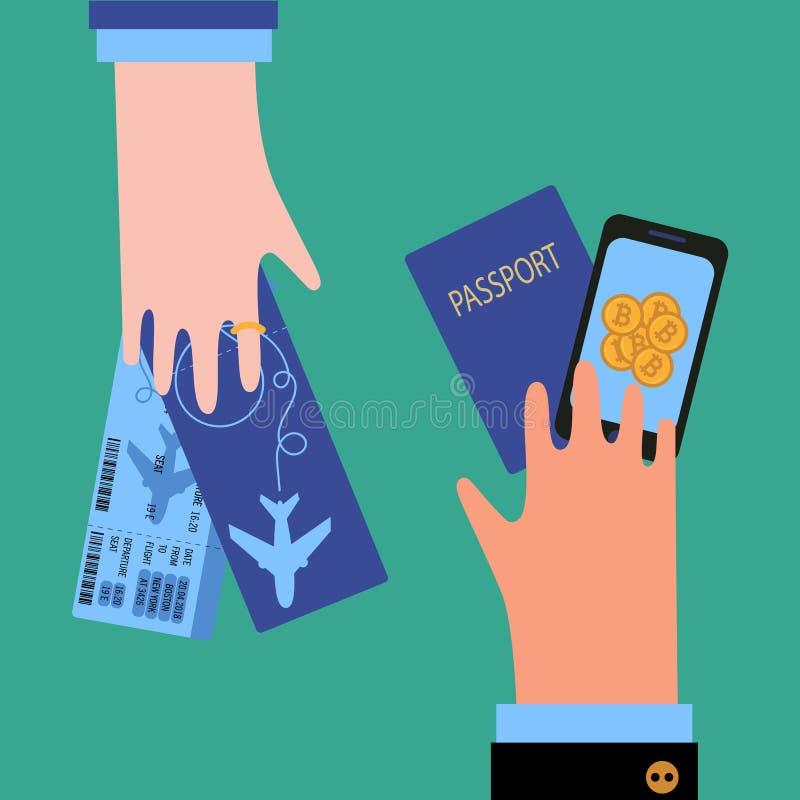Mano della donna e dell'uomo con bitcoin, il passaporto ed i biglietti royalty illustrazione gratis