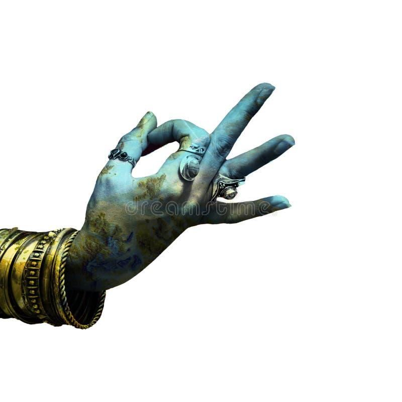 Mano della donna nel lotto di mudra di gesto simbolico di yoga di doppia esposizione degli anelli e dei braccialetti immagine stock libera da diritti