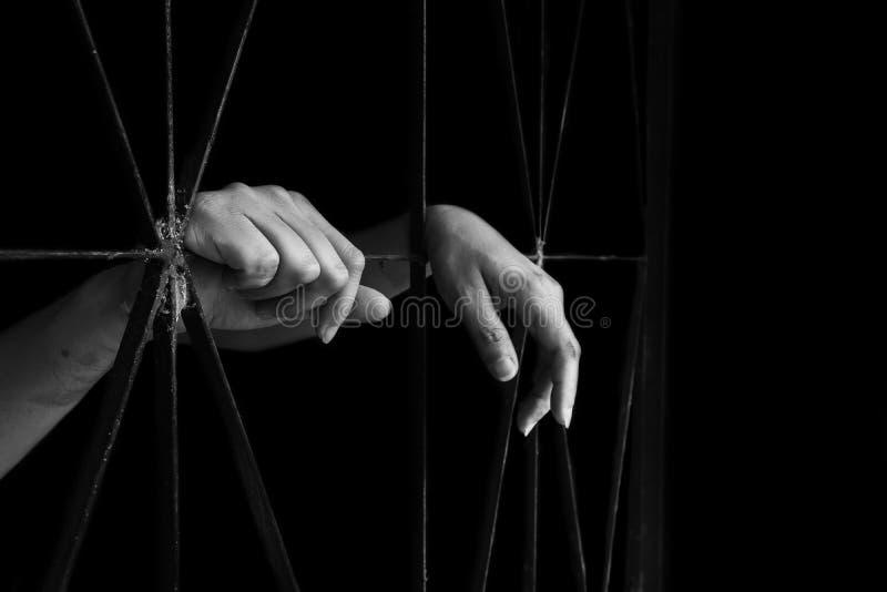 Mano della gabbia della tenuta della donna, abuso, concetto di traffico umano immagine stock libera da diritti