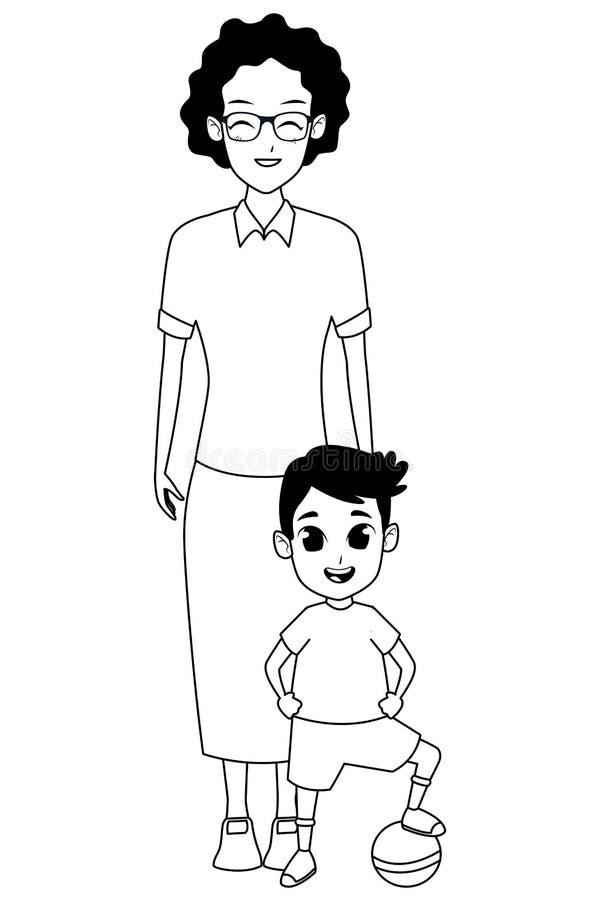 Mano della nonna di afro della famiglia con del ragazzo in bianco e nero illustrazione di stock