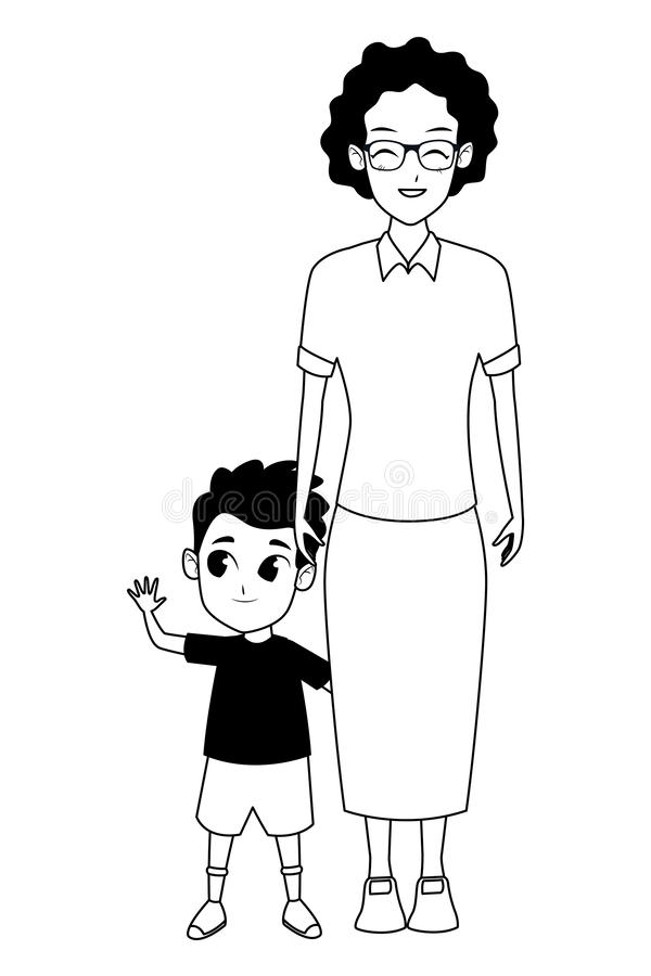 Mano della nonna di afro della famiglia con del ragazzo in bianco e nero royalty illustrazione gratis