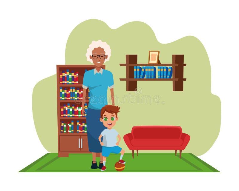 Mano della nonna di afro della famiglia con del ragazzo royalty illustrazione gratis