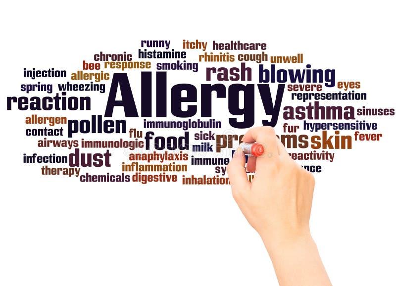 Mano della nuvola di parola di allergia che scrive concetto immagine stock libera da diritti