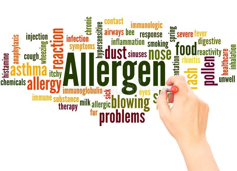 Mano della nuvola di parola dell'allergene che scrive concetto immagine stock libera da diritti