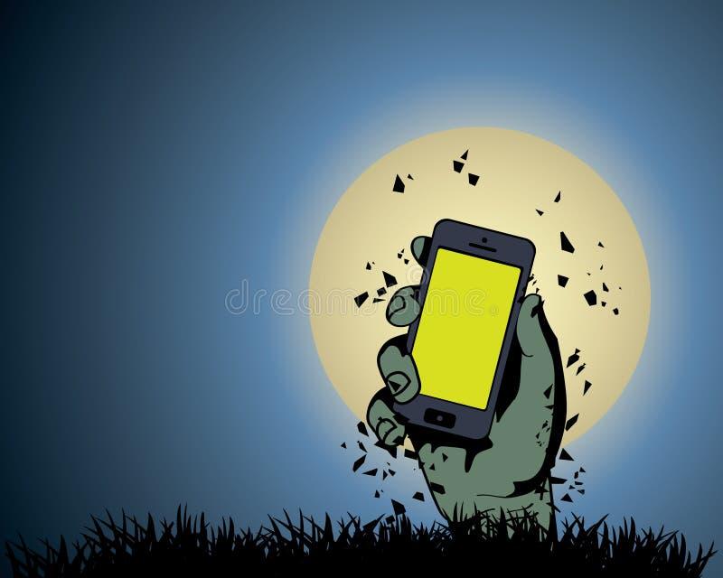 Mano dello zombie che tiene il telefono illustrazione di stock