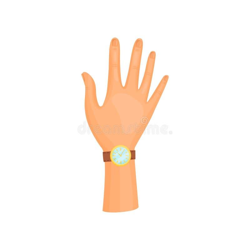Mano destra con l'orologio su fondo bianco illustrazione di stock