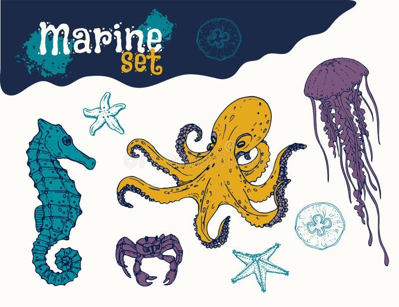 Mano determinada del infante de marina dibujada ilustración del vector