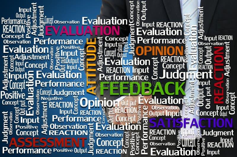 Mano di affari con il concetto di valutazione e di risposte illustrazione di stock
