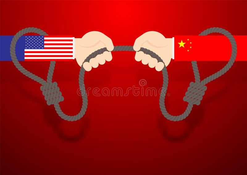 Mano di affari gioco di conflitto del lazo della corda di tirata della bandiera della Cina e dell'America, guerra commerciale ed  royalty illustrazione gratis