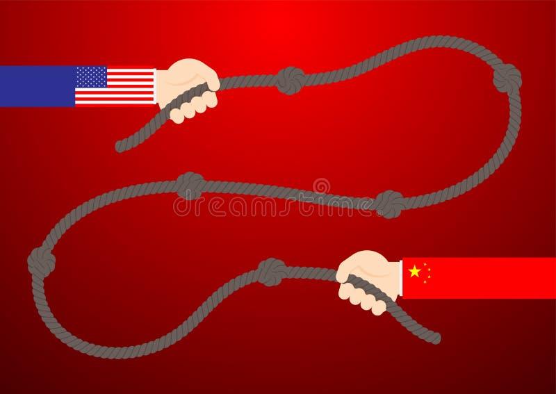 Mano di affari gioco di conflitto del nodo della corda di tirata della bandiera della Cina e dell'America, guerra commerciale ed  illustrazione di stock