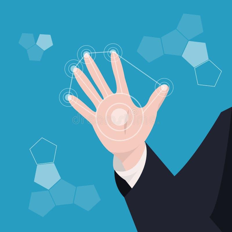 Mano di affari lo schermo virtuale del cerchio moderno sopra il backgro blu illustrazione vettoriale