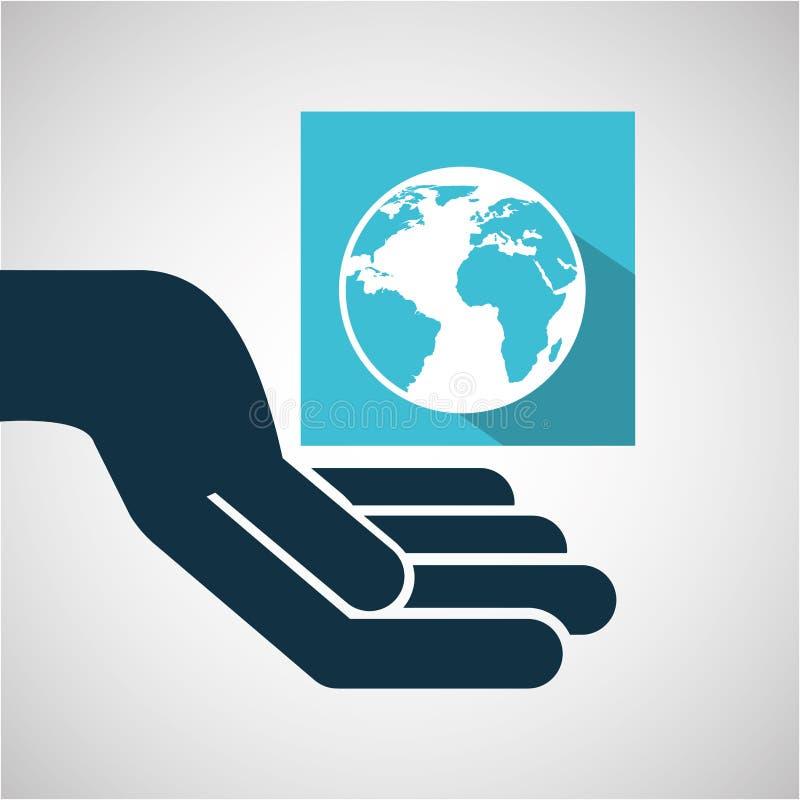 Mano di commercio elettronico di concetto con il mondo del globo illustrazione di stock