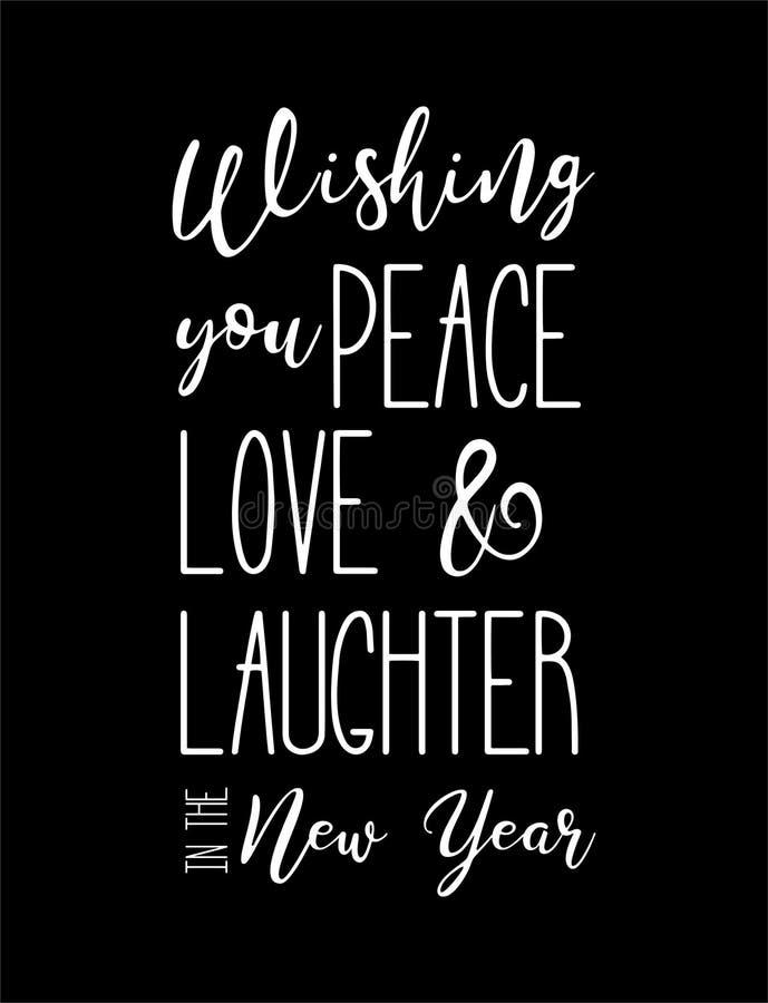 Mano di desiderio del buon anno che segna calligrafia con lettere isolata su fondo nero Logo di vettore, progettazione del testo  illustrazione di stock
