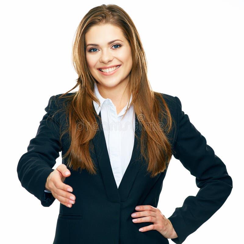 Mano di elasticità della donna di affari per la scossa Priorità bassa bianca immagine stock libera da diritti