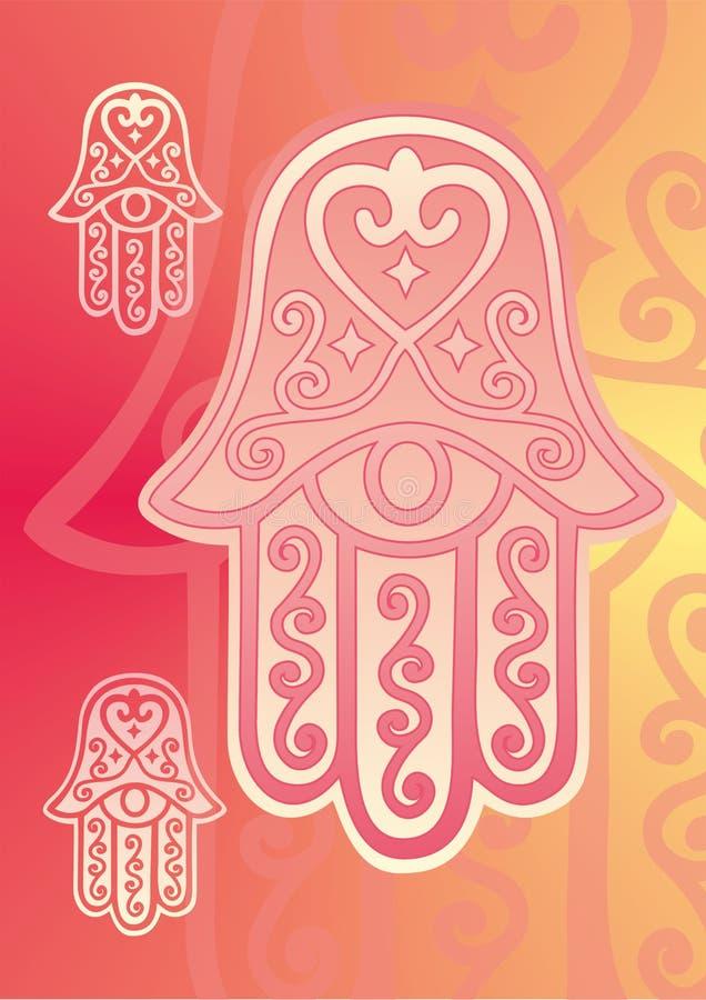 Mano di Fatima con l'occhio illustrazione di stock