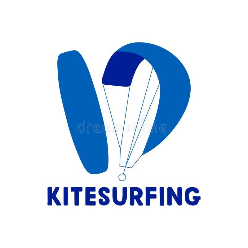Mano di Kitesurfing scritta segnando logo con lettere illustrazione vettoriale