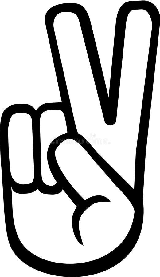 Mano di pace con due dita illustrazione di stock