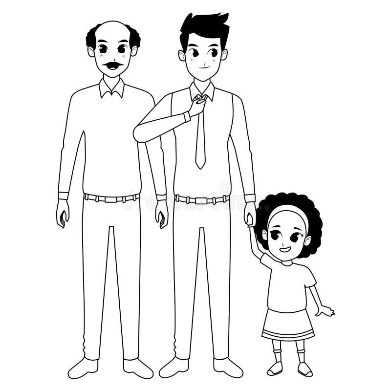 Mano di prima generazione del padre della famiglia e con della ragazza di afro in bianco e nero royalty illustrazione gratis
