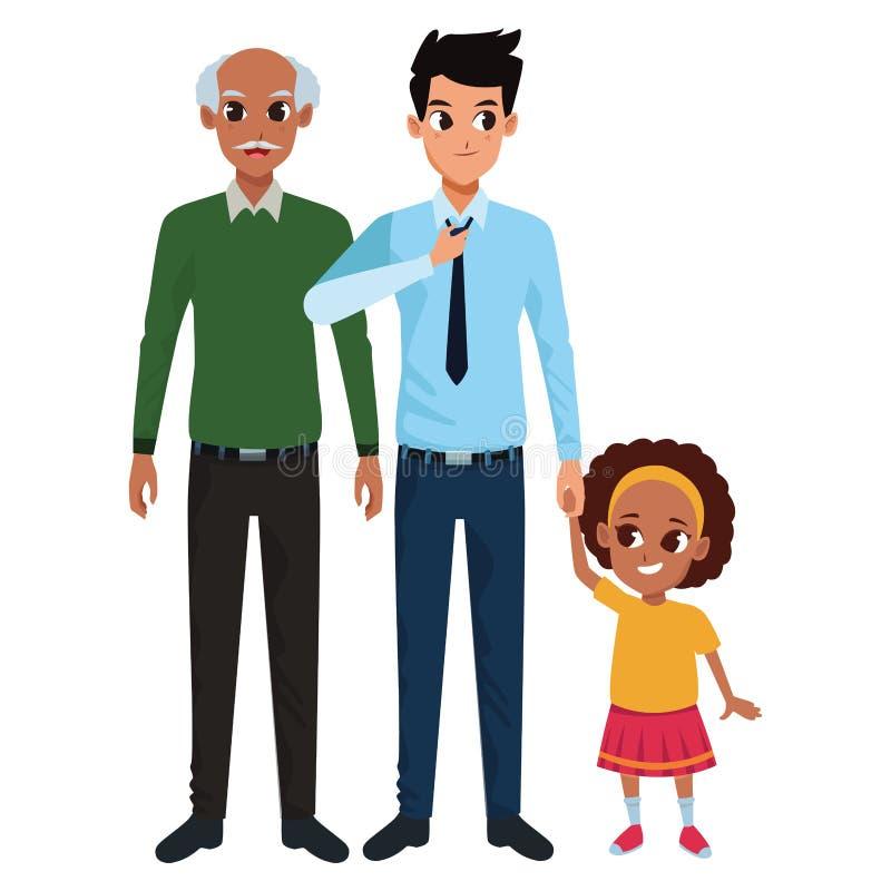 Mano di prima generazione del padre della famiglia e con della ragazza di afro illustrazione vettoriale