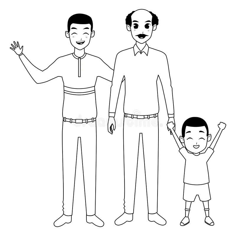 Mano di prima generazione del padre della famiglia e con del ragazzo di afro in bianco e nero illustrazione di stock
