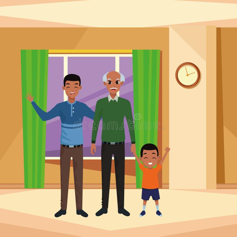 Mano di prima generazione del padre della famiglia e con del ragazzo di afro illustrazione di stock