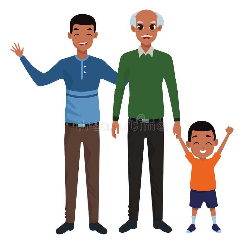 Mano di prima generazione del padre della famiglia e con del ragazzo di afro illustrazione vettoriale