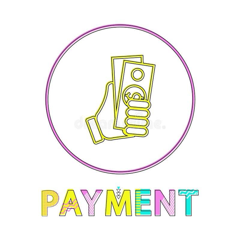 Mano di schizzo con l'icona di stile del Lineout di pagamento del dollaro illustrazione vettoriale