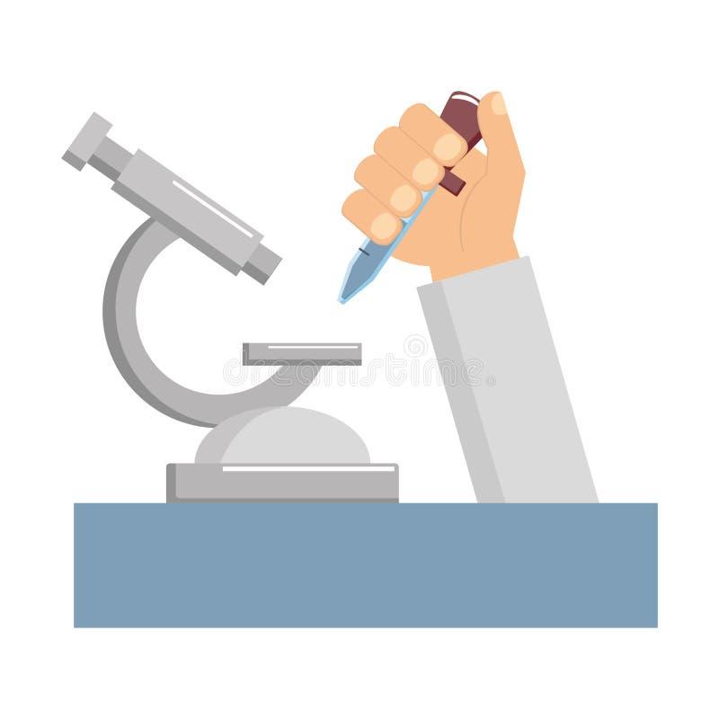 Mano di scienza con la pipetta illustrazione di stock