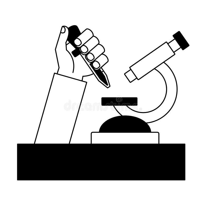 Mano di scienza con la pipetta royalty illustrazione gratis