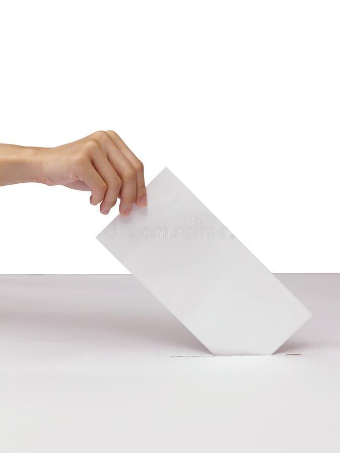 Mano di signora che mette un voto di voto nella scanalatura della scatola bianca immagine stock