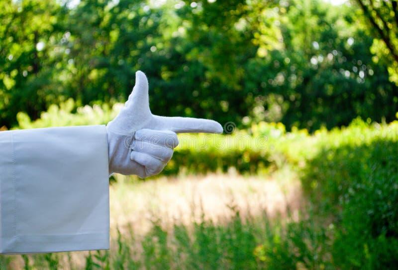 Mano di un cameriere in un guanto bianco che mostra un segno contro un fondo della natura fotografia stock
