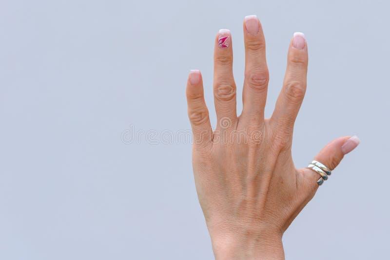 Mano di una donna più anziana con le unghie dipinte fotografia stock