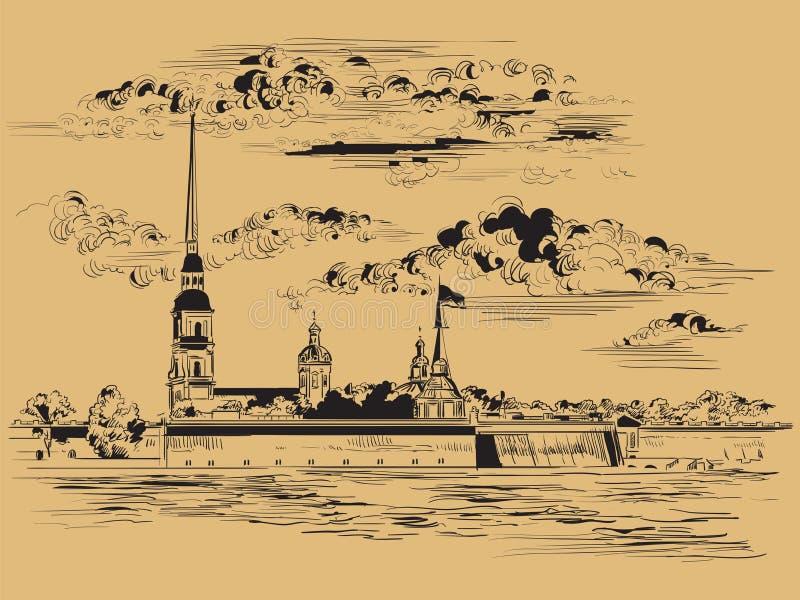 Mano di vettore di Brown che disegna St Petersburg 6 illustrazione di stock