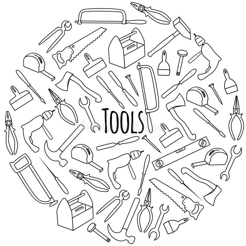 Mano dibujada alrededor de sistema con las herramientas imagen de archivo libre de regalías
