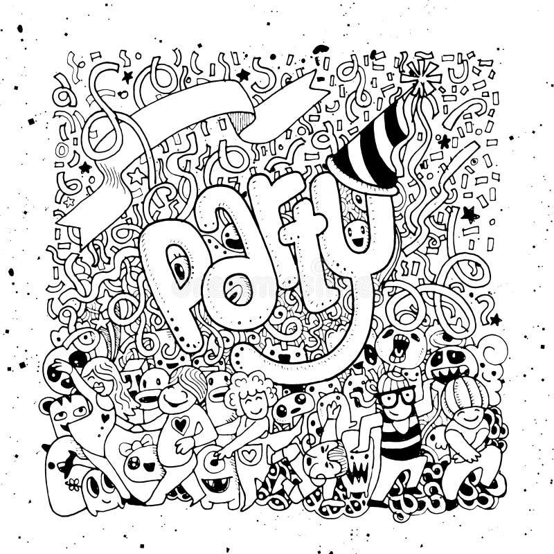 Mano dibujada de fondo feliz del partido stock de ilustración