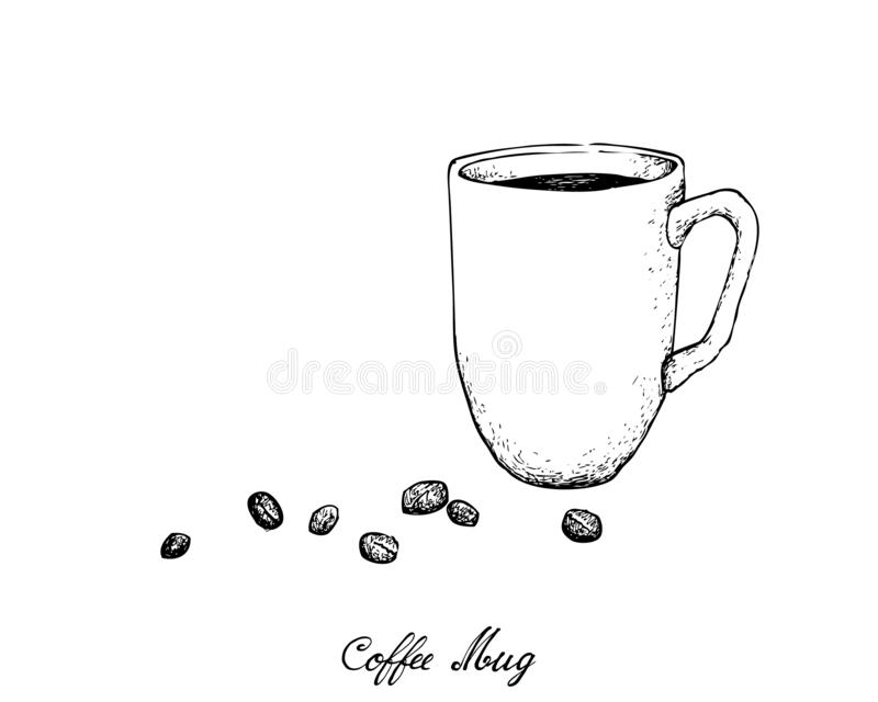 Mano dibujada de la taza de café con los granos de café asados stock de ilustración