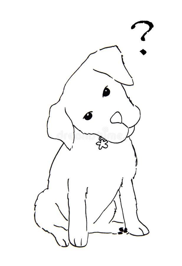 Mano dibujada de perro con el signo de interrogación libre illustration